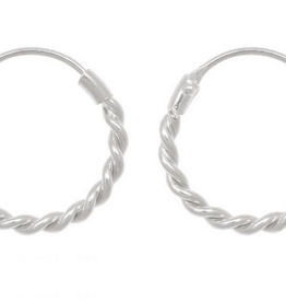 Fashionology Small Rope Hoop Earrings Sterling Silver