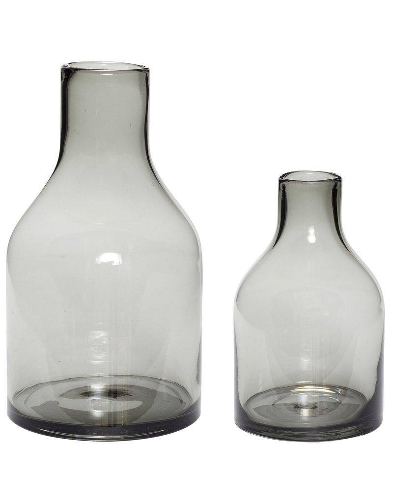 Hubsch Vase, glass, smoked s/2