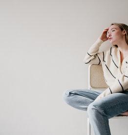 secco Brook Knit Striped Boxy Cardigan