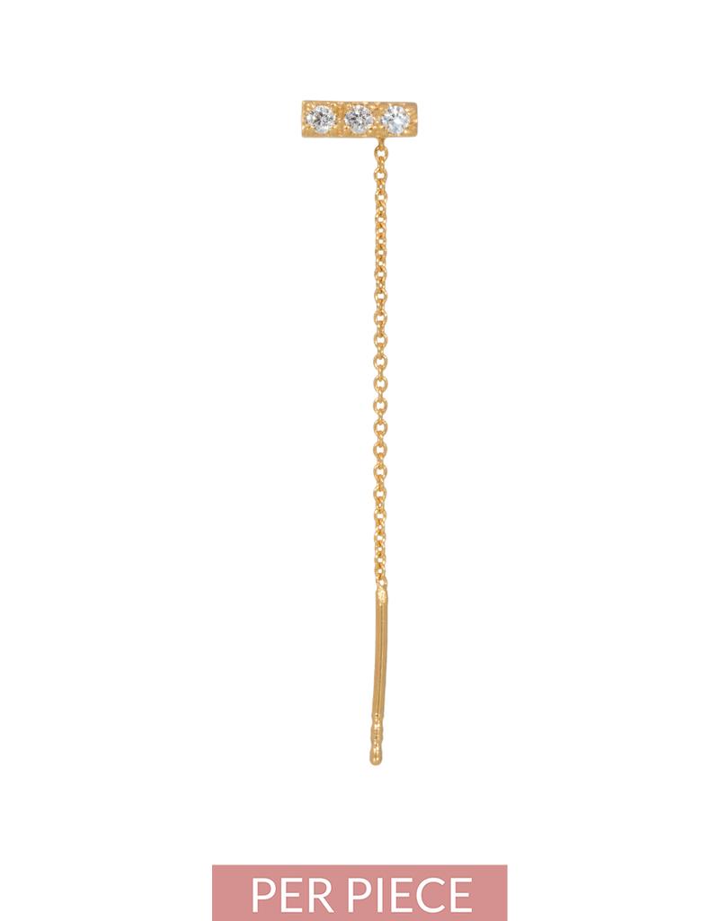 Eline Rosina Single zirconia bar threader in gold plated sterling silver