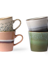 HKliving Ceramic Cappuccino 70's Mugs Set of 4