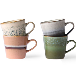 hk living Ceramic Cappuccino 70's Mugs Set of 4