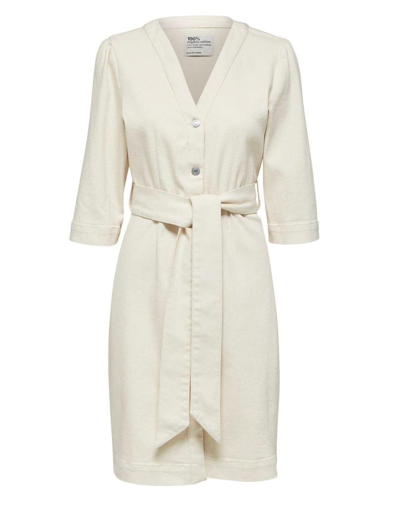 Selected Femme Stella star white 3/4 denim dress