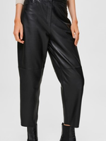 Selected Femme Agnes mw cropped leather pant black