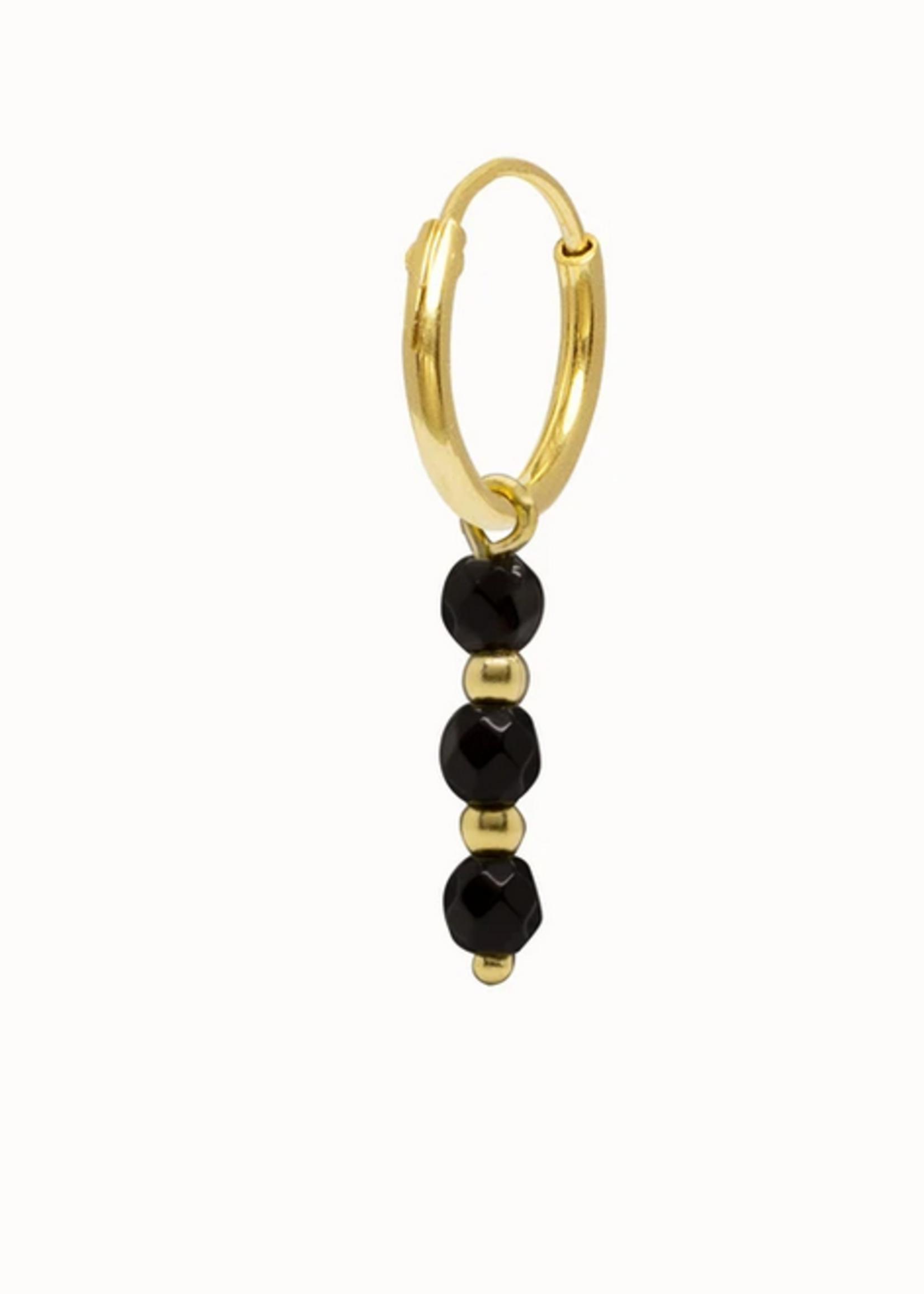 Flawed Triple onyx hoop gold plated per piece
