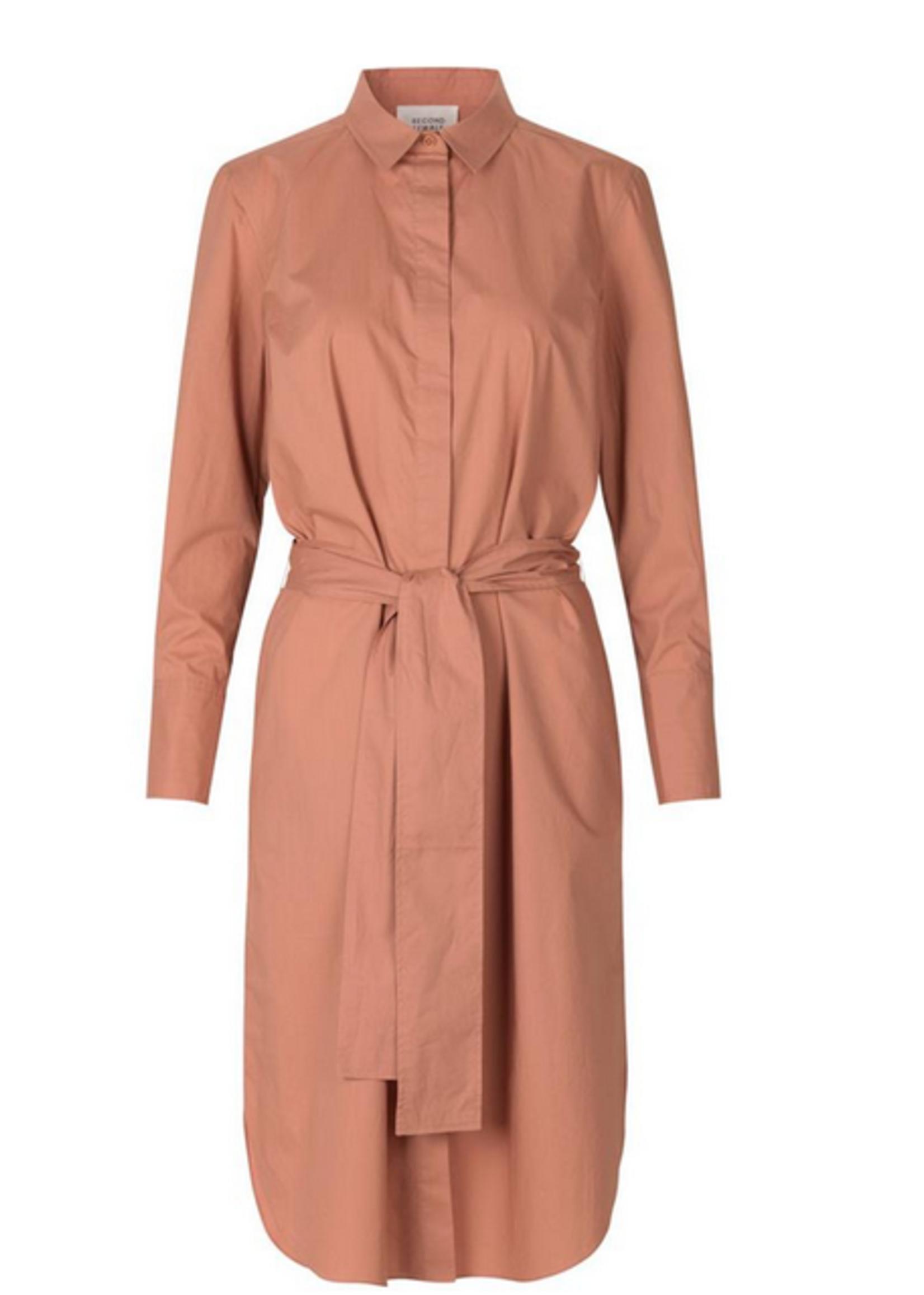 Second Female Larkin LS Midi Shirt Dress mocha / L