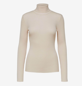 Selected Femme Costa knit rib rollneck birch