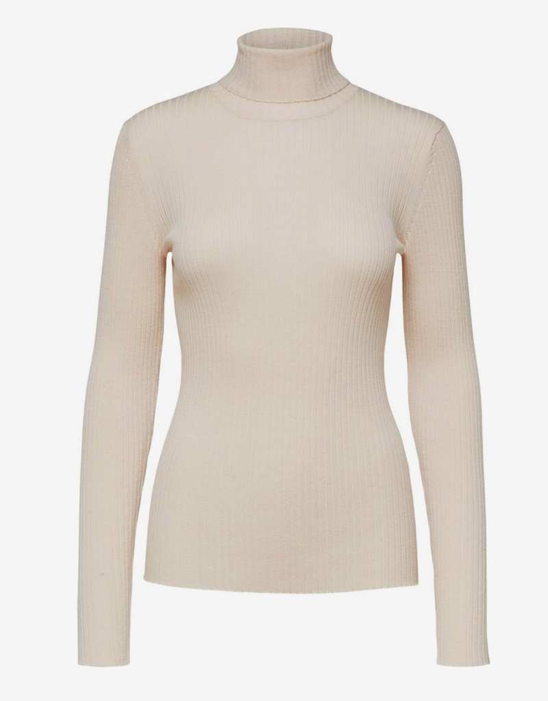 Selected Femme  Costa knit rib rollneck birch