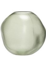 Hubsch Vase, glass, green, round