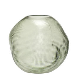 Hubsch Vase, glass, green, round