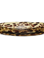 Hubsch Tray, round, glass, yellow/brown, medium