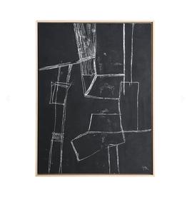 HK Living framed brutalism painting black 60x80cm