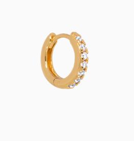 Eline Rosina Single zirconia huggie hoop gold plated