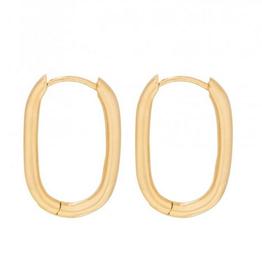 Fashionology Big oval huggies 20 mm gold plated