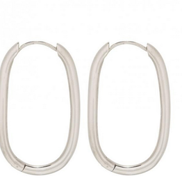 Fashionology Thick Oval Hoop Earrings 30mm Sterling silver
