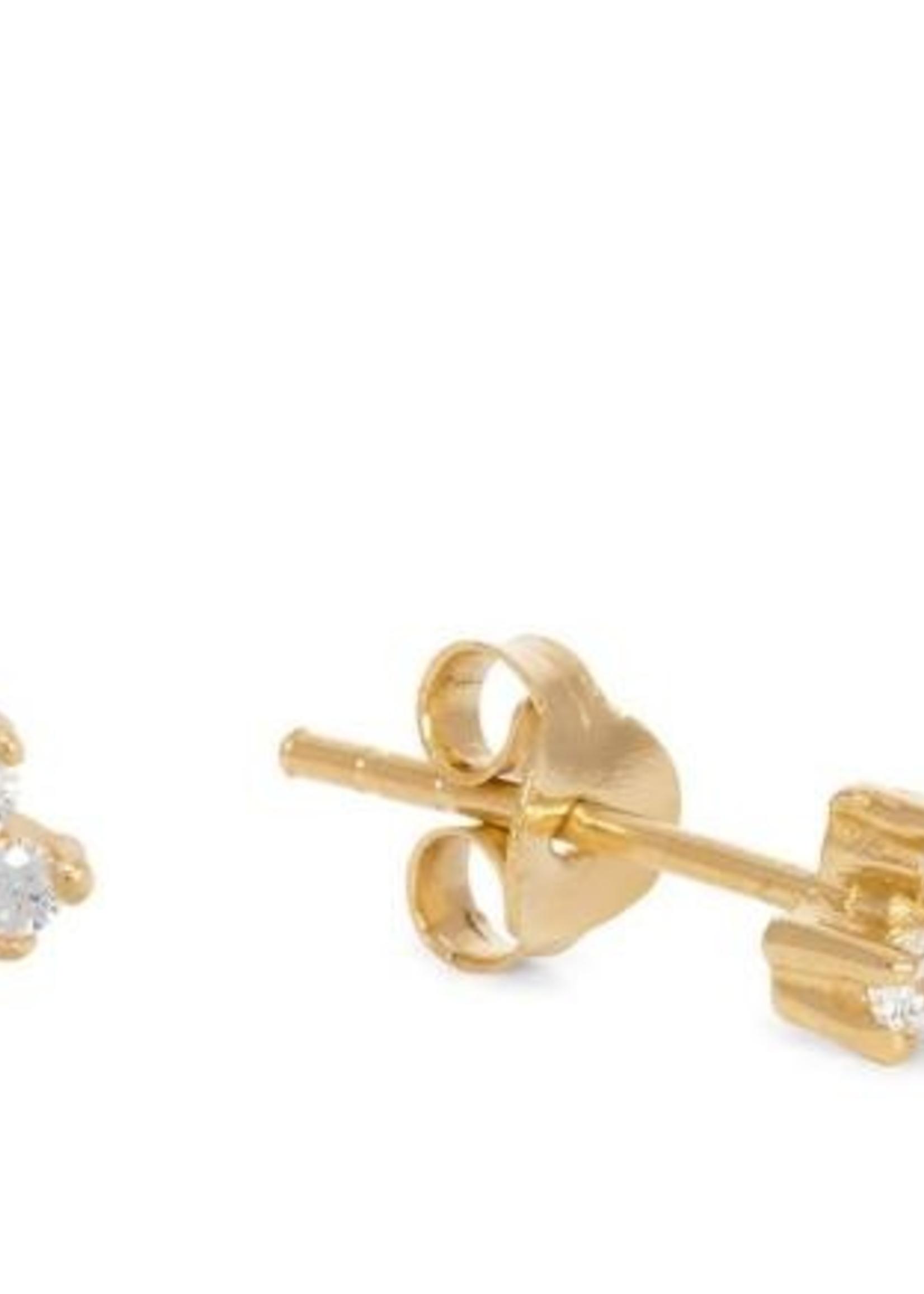 Fashionology Fashionology Clear quartz triple dot earpins gold plated