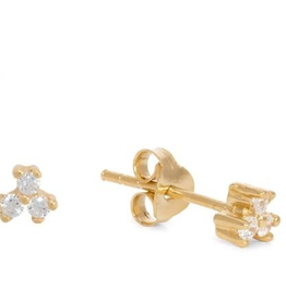 Fashionology Fashionology Clear quartz triple dot earpins gold plated