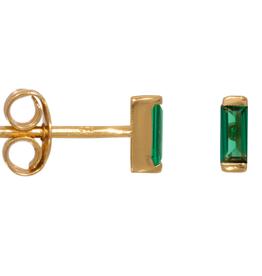 Eline Rosina Emerald baguette earrings gold plated
