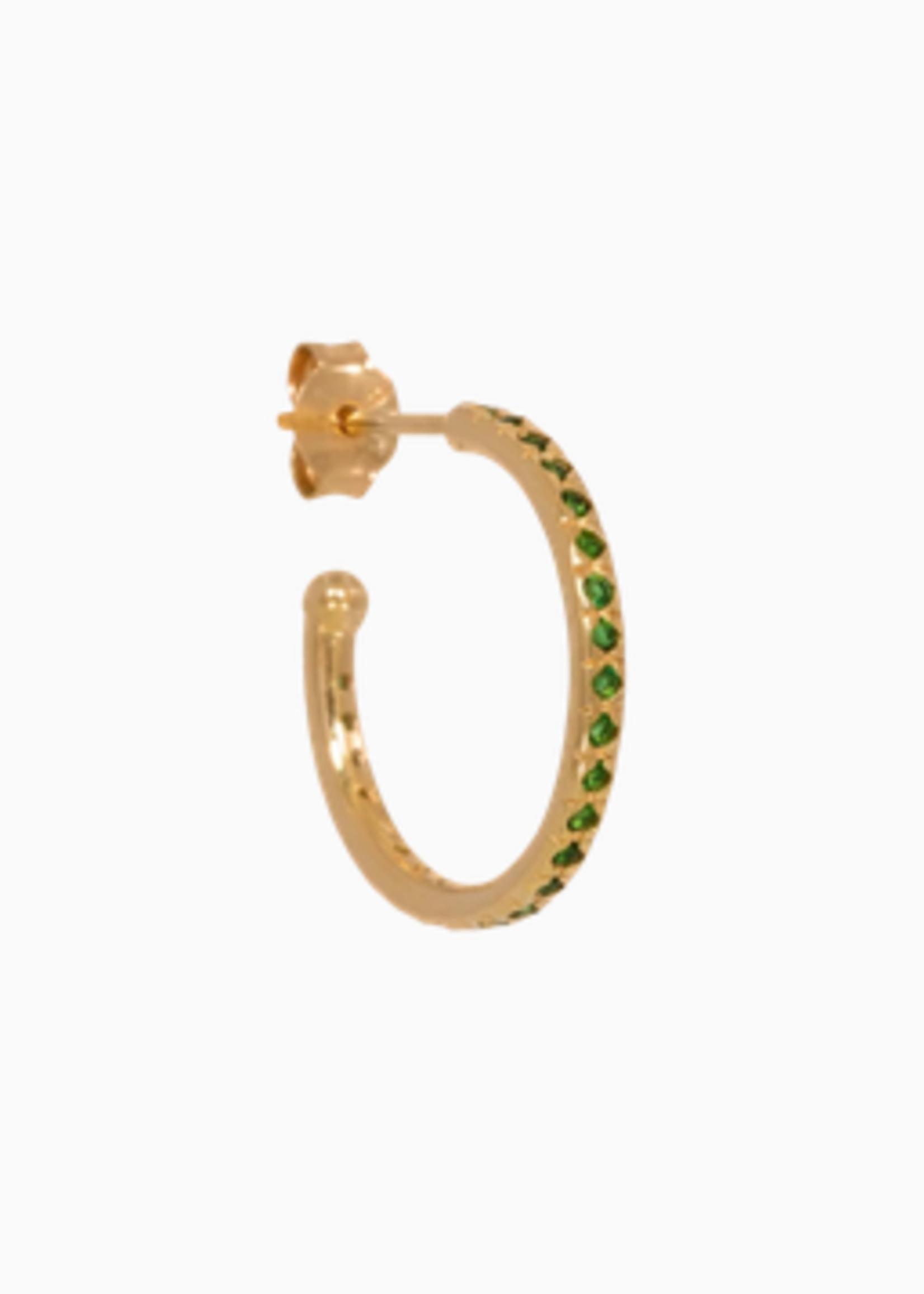 Eline Rosina Mix & Match single large emerald hoop gold plated