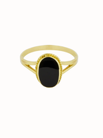 Flawed Oval Sounenir Ring Black