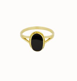 Flawed Oval Sounenir Ring Black