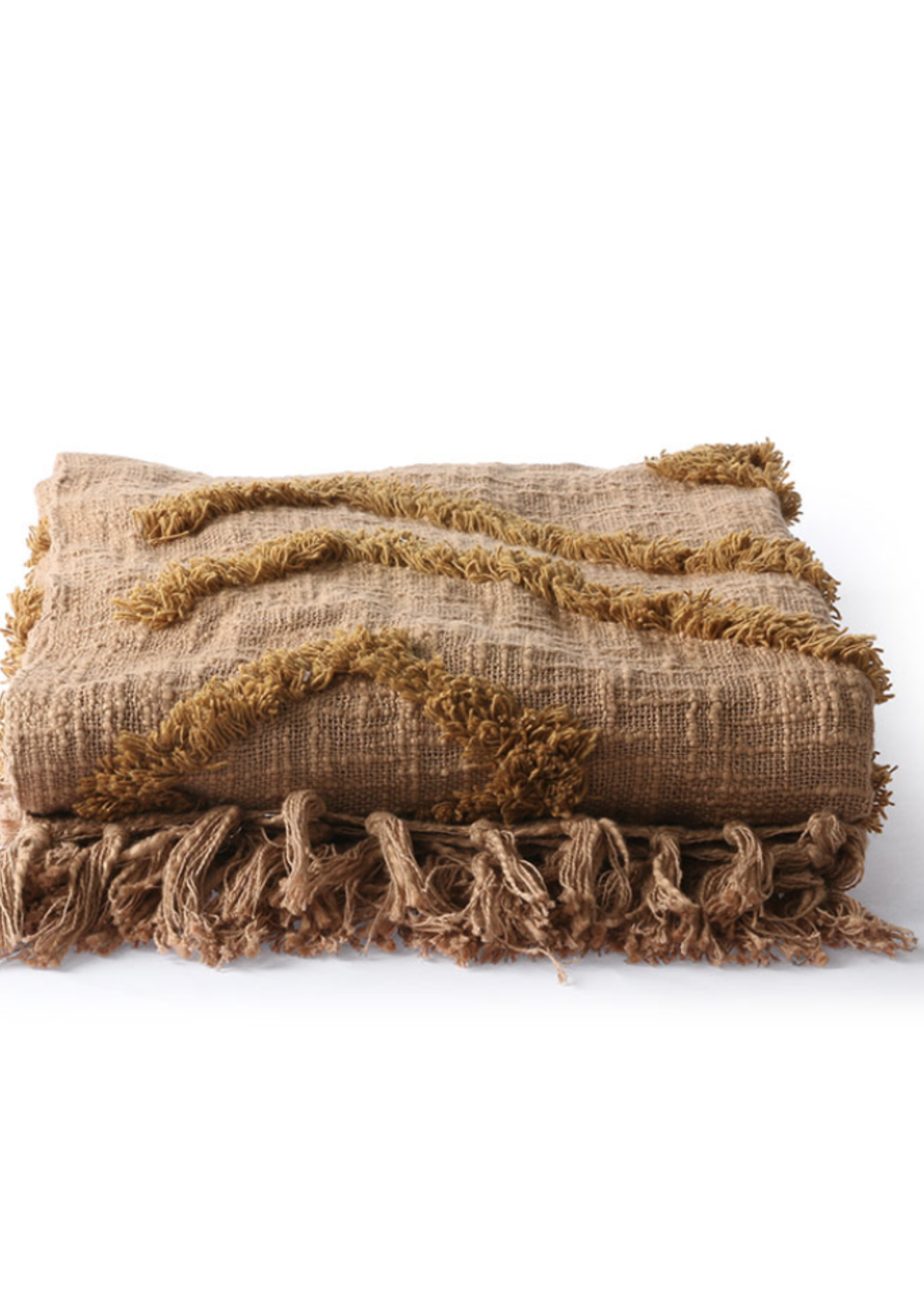 HKliving Hk living cotton fringe pattern throw brown (130x170)