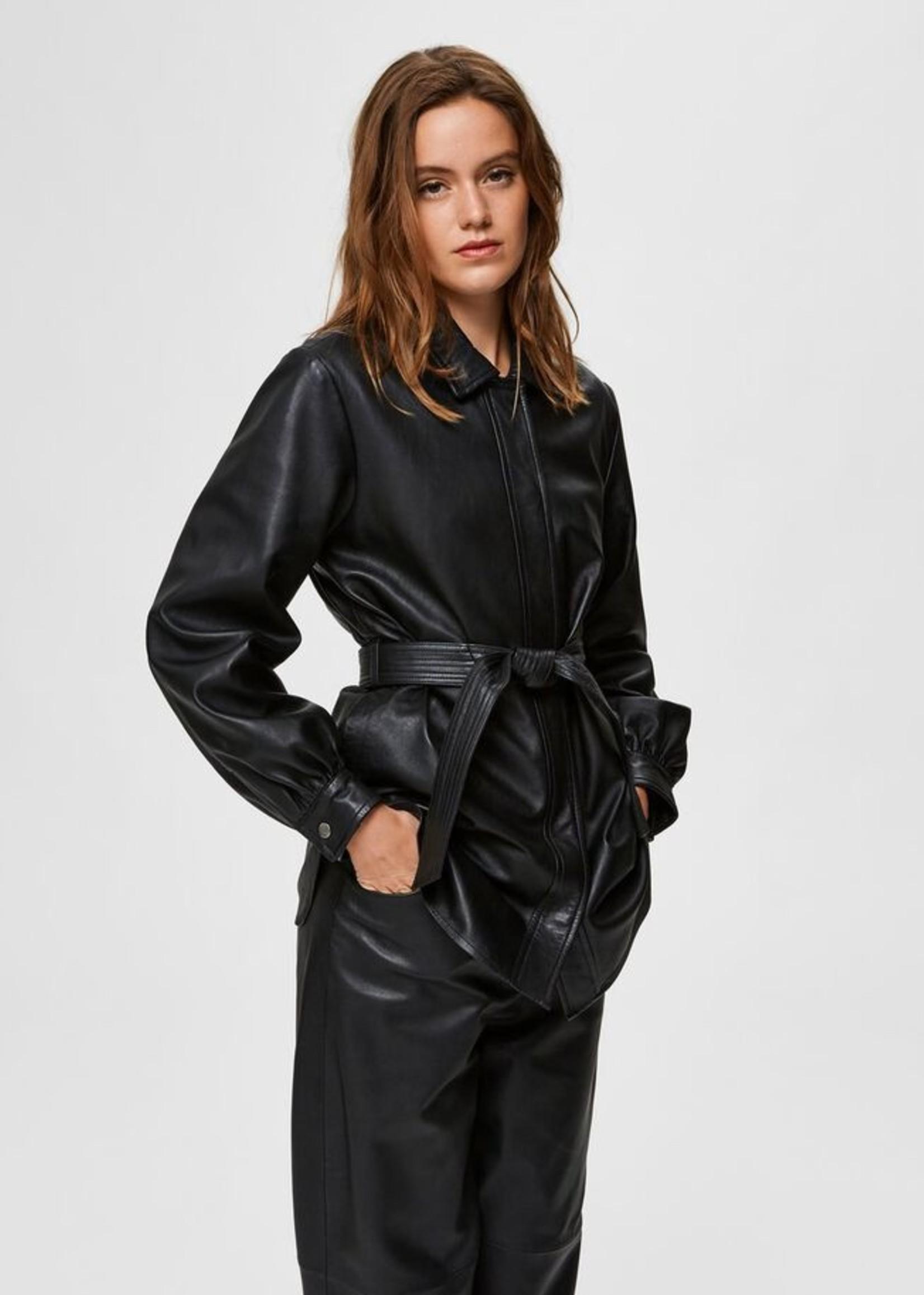 Selected Femme Long leather shirt jacket