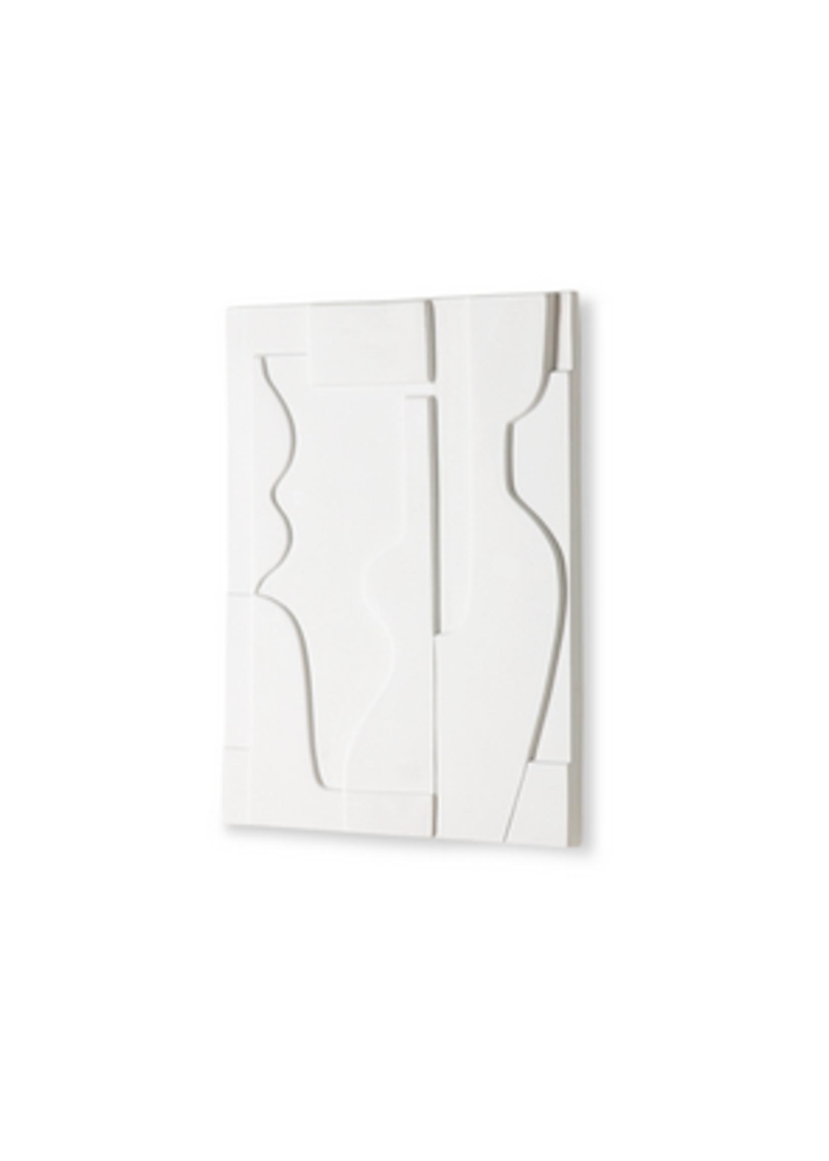 HKliving Ceramic wall art panel matt white