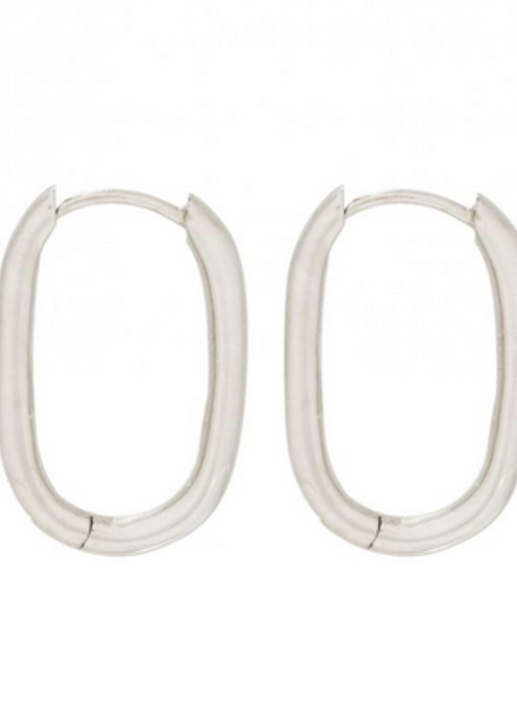 Fashionology Big Oval Huggies 20mm Sterling Zilver