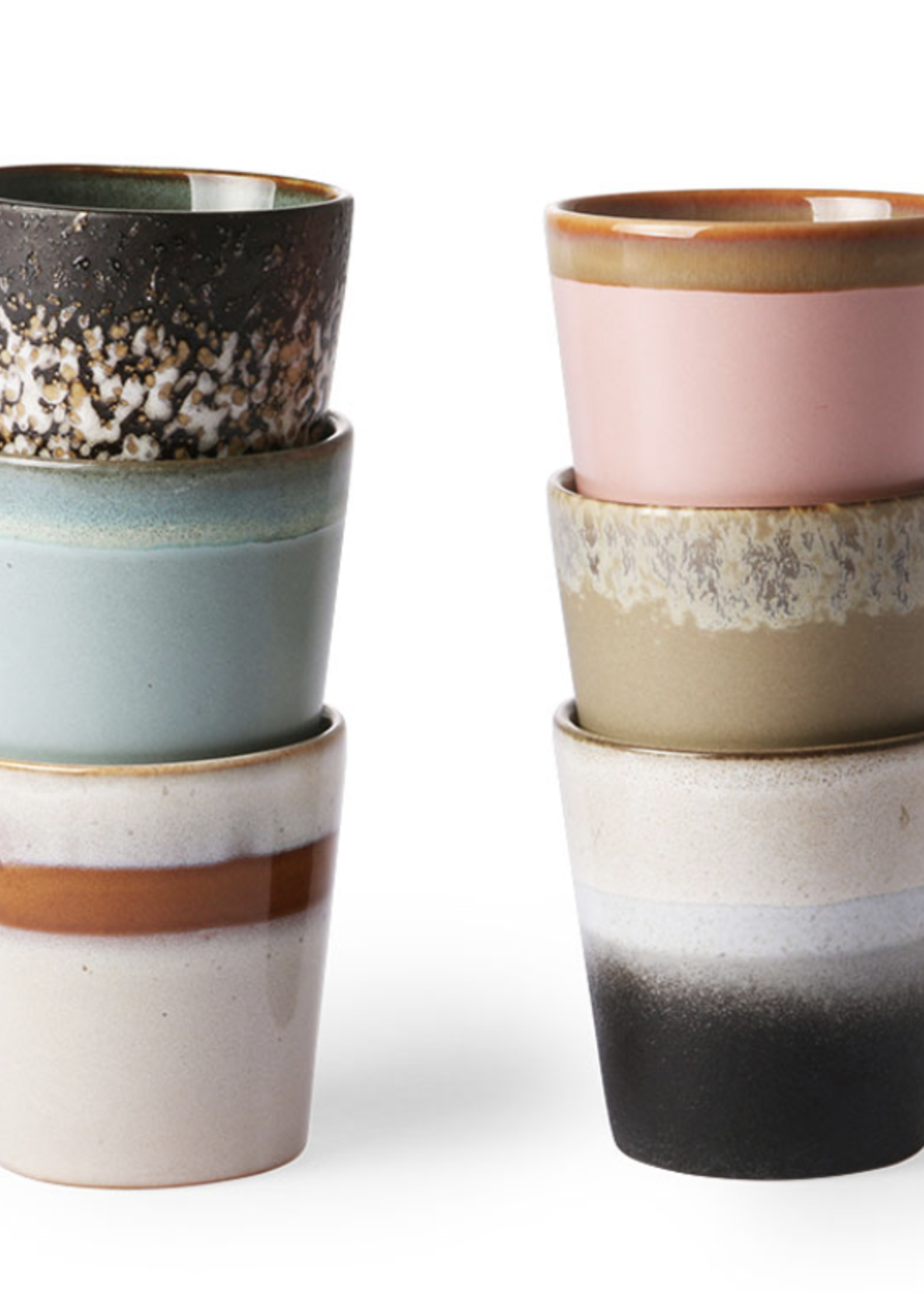 HKliving HK Living ceramic 70's mugs set of 6