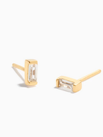 Eline Rosina Zirconia baguette earrings Gold plated