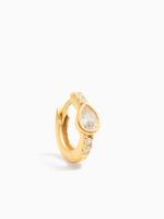 Eline Rosina Zirconia drop huggie hoop gold plated