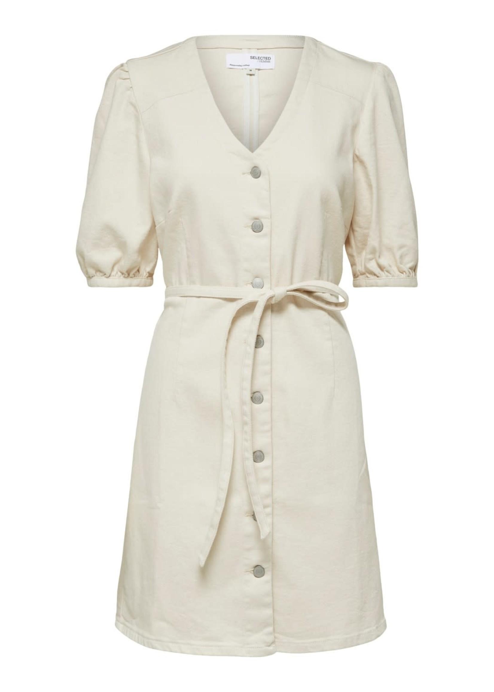 Selected Femme Sophia star white 3/4 denim dress