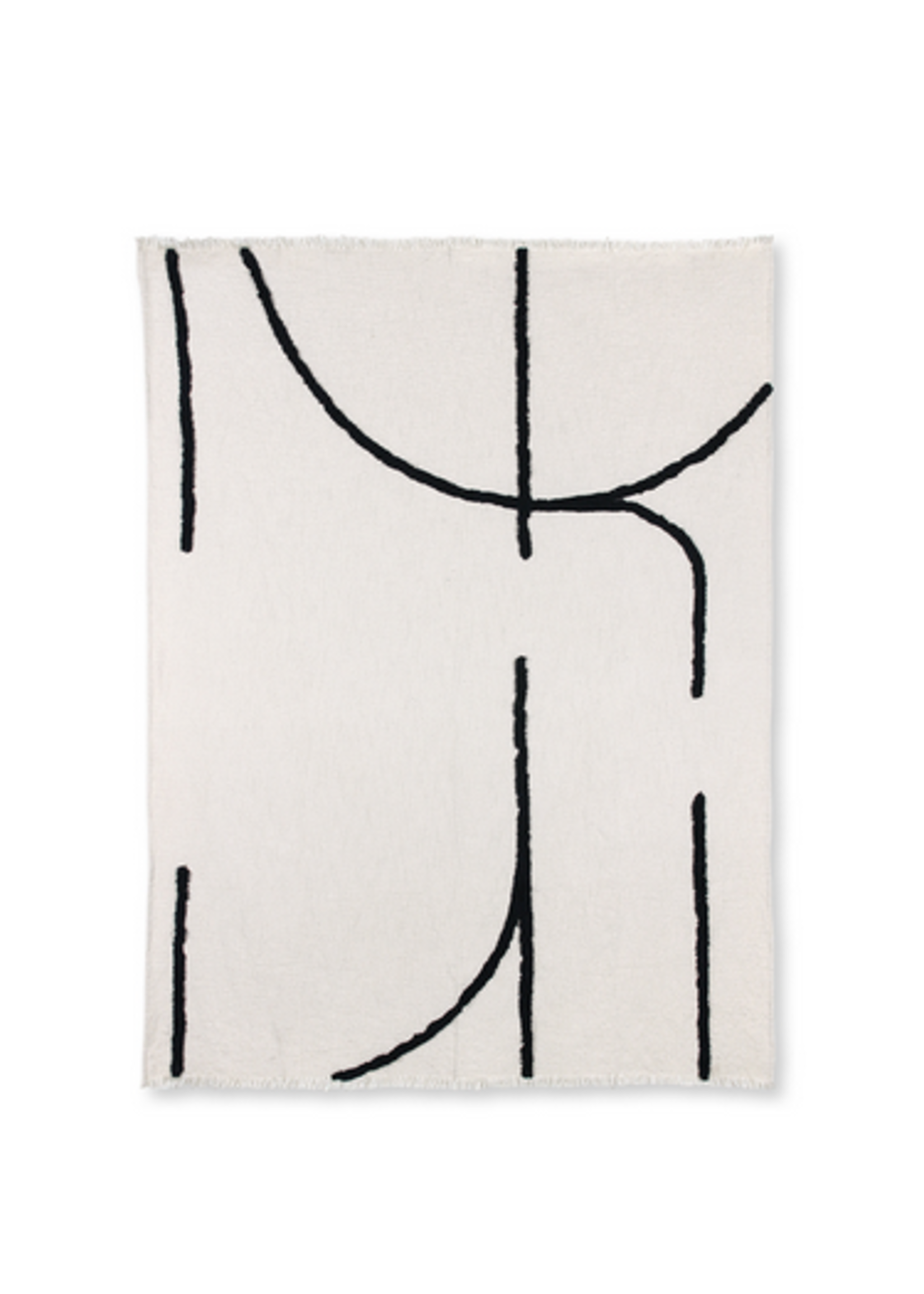 HKliving Throw tufted black lines 130 x170