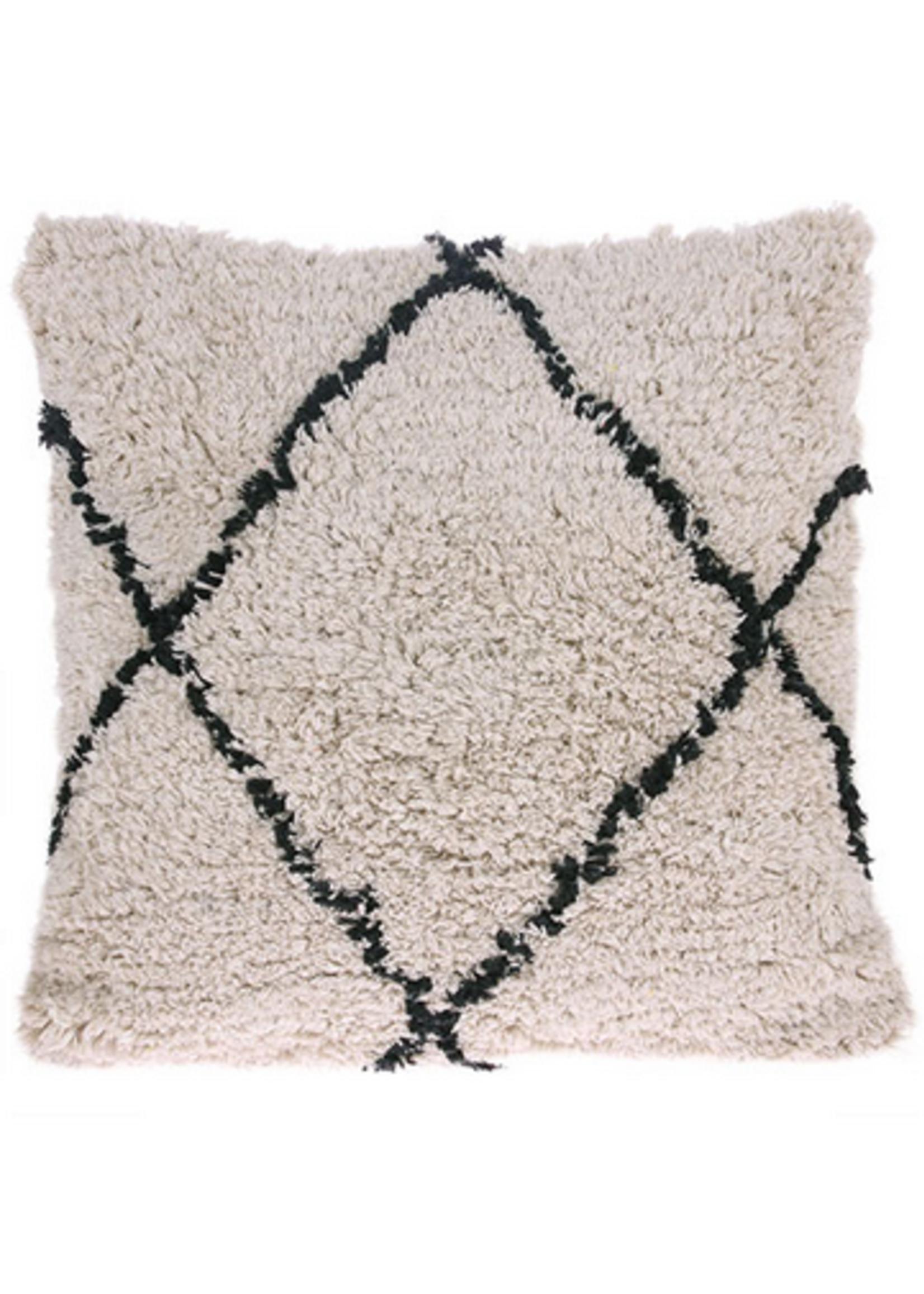 HKliving Cotton diamond cushion cream/black