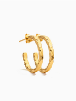 Eline Rosina Large Hammered hoops gold plated
