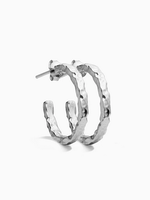 Eline Rosina Large Hammered hoops silver