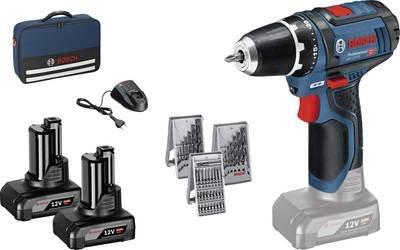 Bosch Professional GSR 12V-15 incl. 2 accu's, incl. accessoires, incl. tas 12 V 4 Ah Li-ion