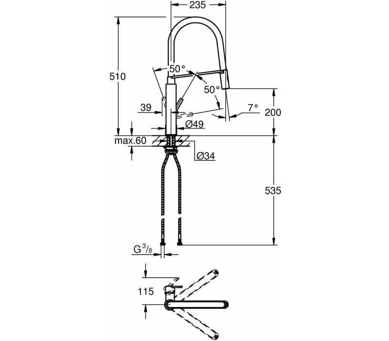 GROHE Feel Professional Keukenkraan - Hoge draaibare uitloop 2 straalopties RVS