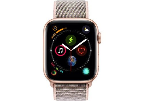 Apple Watch Series 4 44mm Goud Aluminium Roze Nylon Sportband