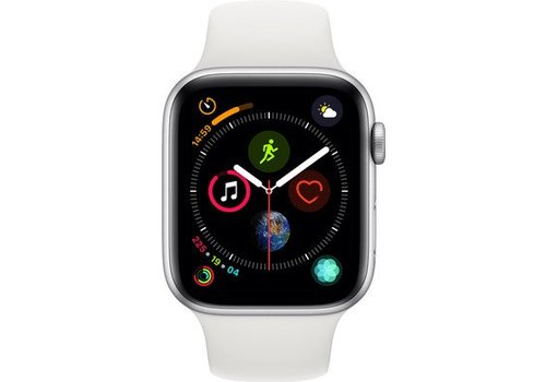 Apple Watch Series 4 44mm Zilver Aluminium Witte Sportband
