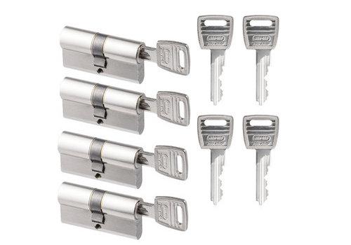 Nemef veiligheidscilinder 30/30 mm SKG 2-sterren gelijksluitend (4 stuks)