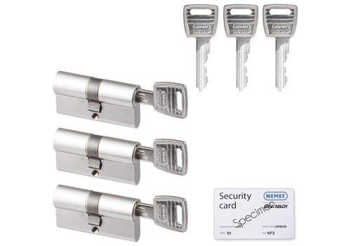 Nemef veiligheidscilinder 30/30 mm SKG 3-sterren gelijksluitend (3 stuks)