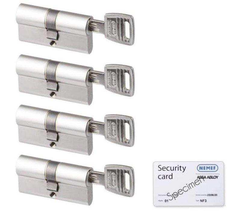 Nemef veiligheidscilinder 30/30 mm 132/9 SKG 3-sterren gelijksluitend 4 stuks