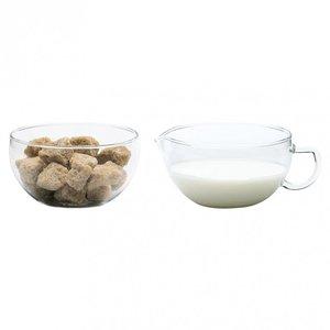 Glazen melk en suikerpotje  Miko