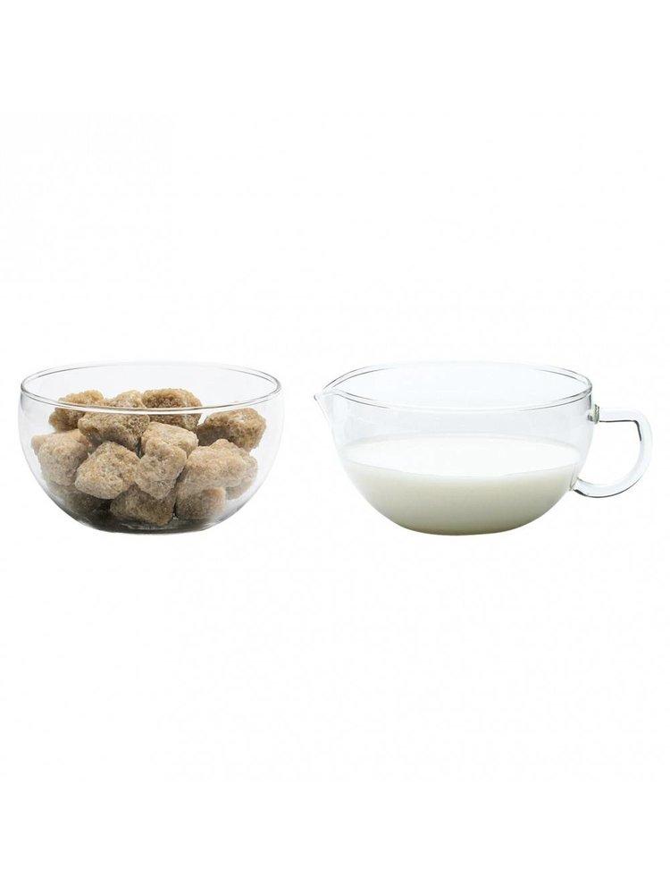 Wonderlijk Glazen melk en suikerpotje Miko - De Theeplantage YW-69