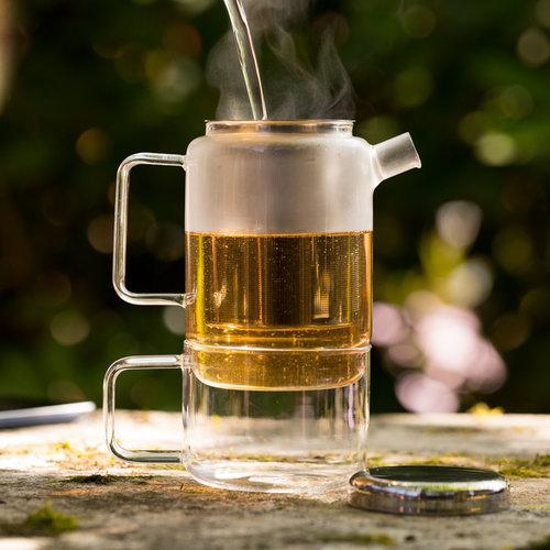 Bredemeijer Salerno theepot 0,75ltr met filter en glas