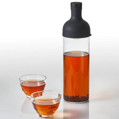 Grijze Hario Ice tea fles met filter en kopjes