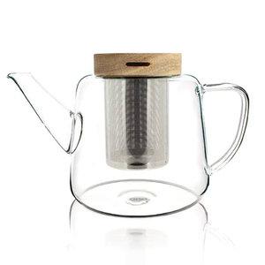 Theepot van borosilicaatglas met houten deksel 1L