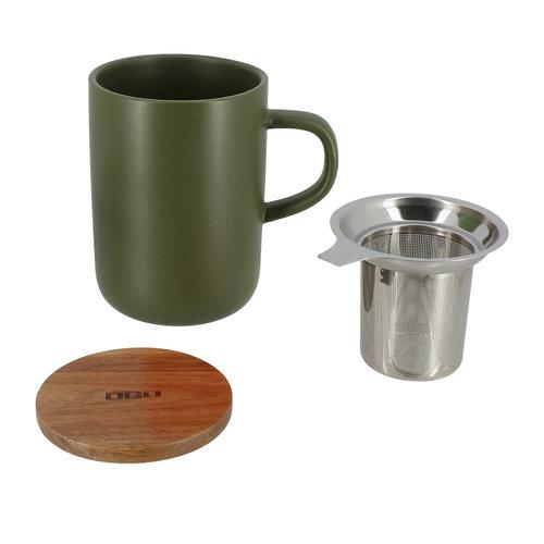 Ogo Living Groene mok met filter 475 ML steengoed met houten deksel